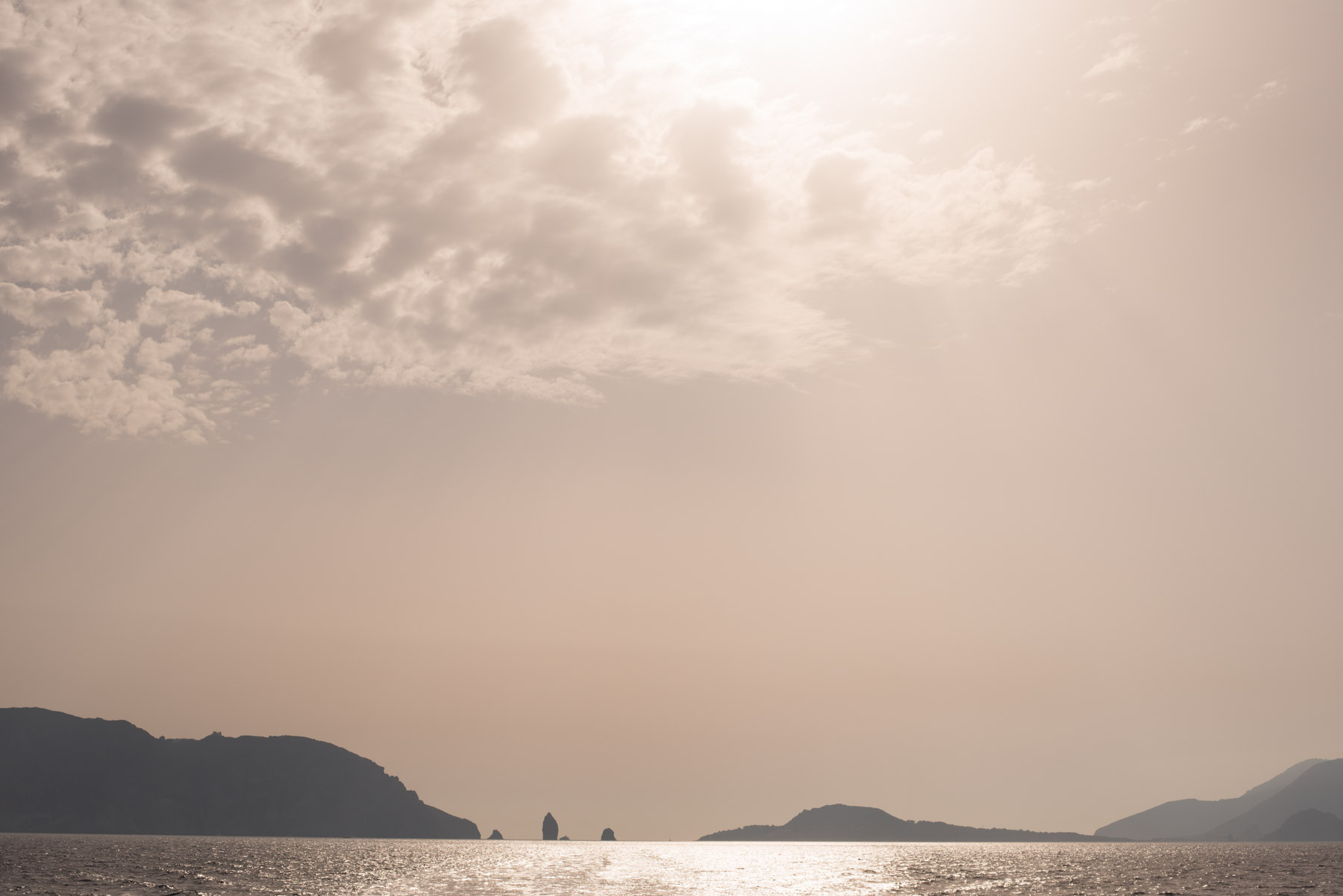 Sunset over lipari, salina, vulcano, stromboli, alicudi, filicudi, panarea, the small aeolian islands