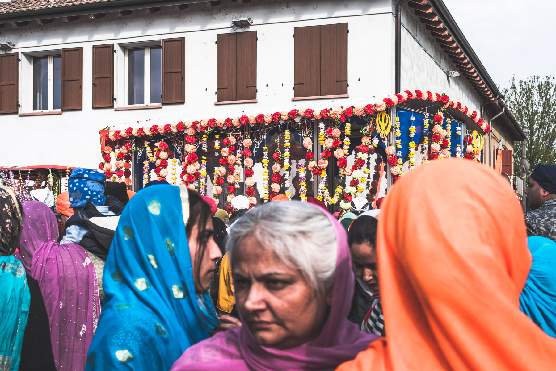 Sikh women attending the Vaisakhi celebration in the city of Novellara