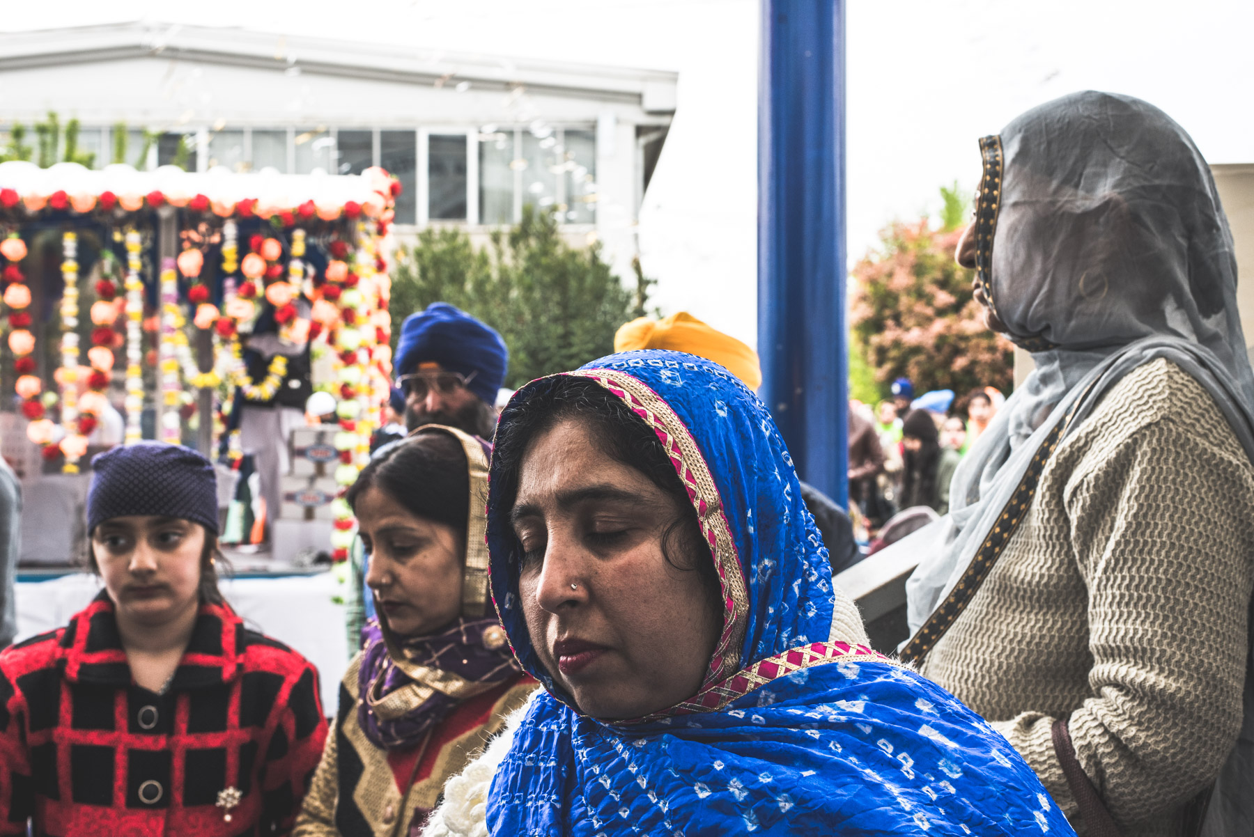Sikh people attending the Vaisakhi celebration in the city of Novellara