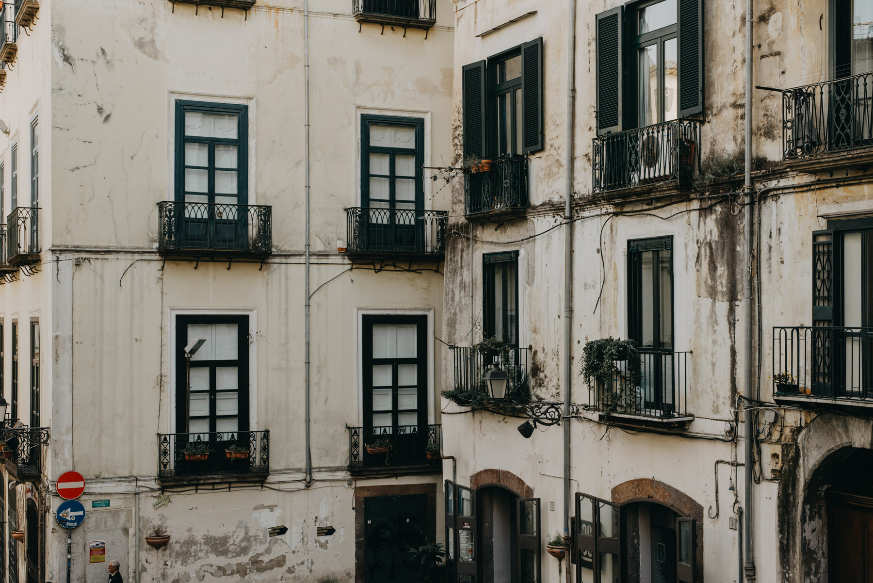 street photography in the city of Salerno, pictured a detail of balconies