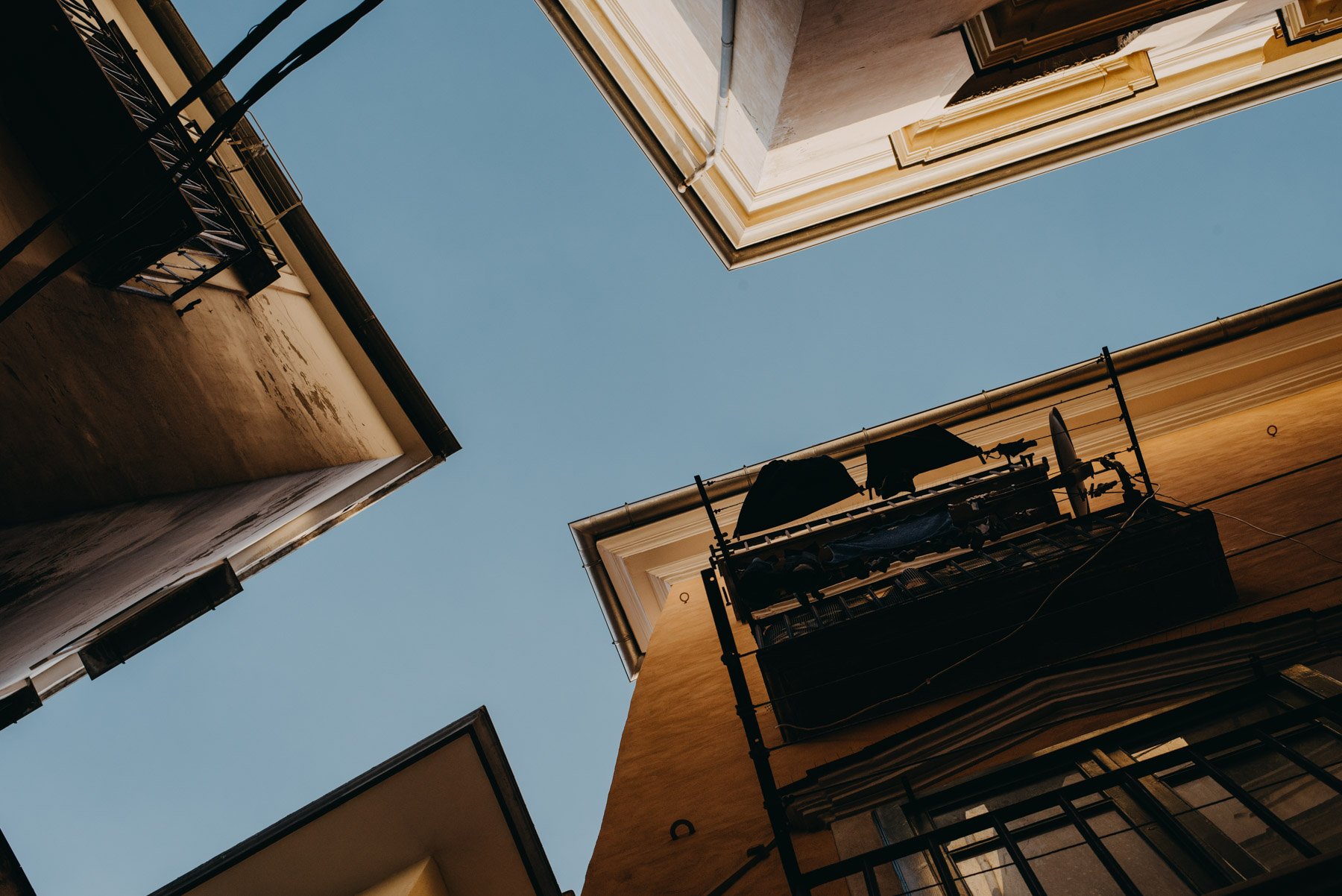 street photography in the city of Salerno, pictured the buildings seen from below