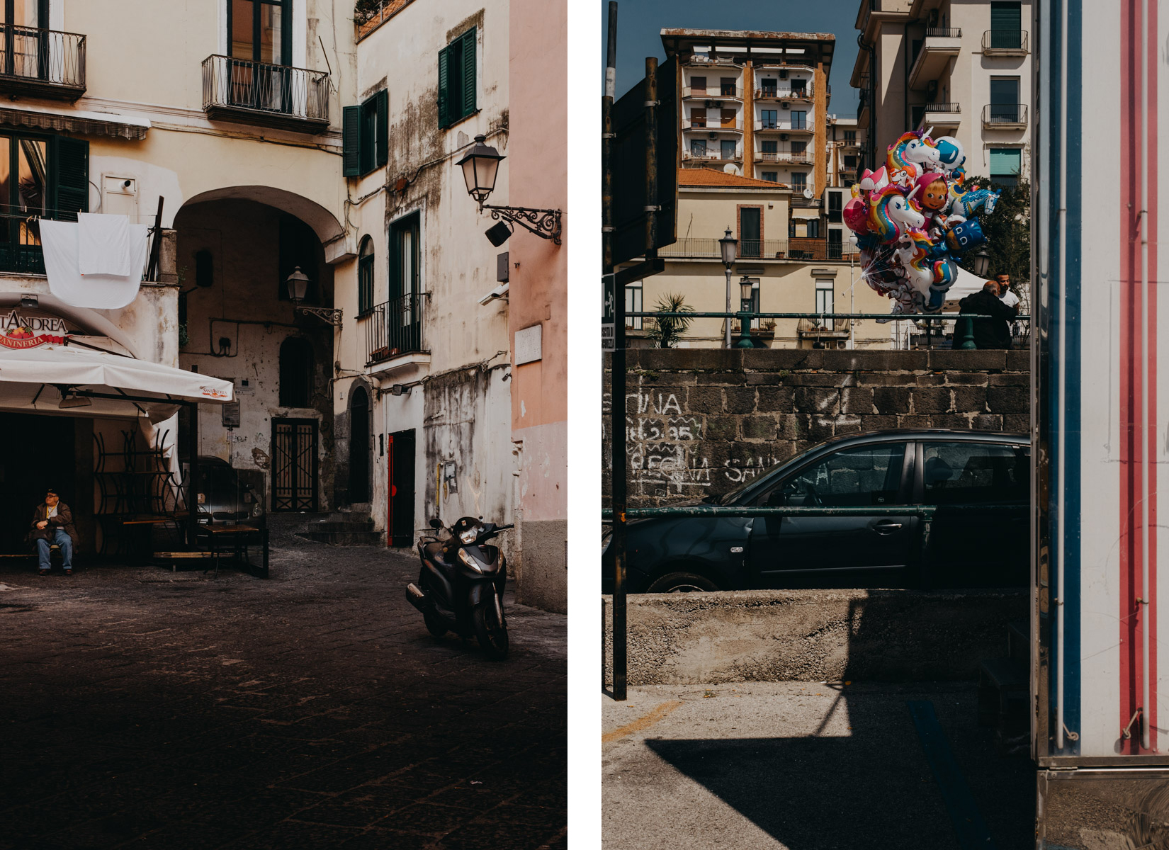 street photograaphy showing corners in the city of Salerno