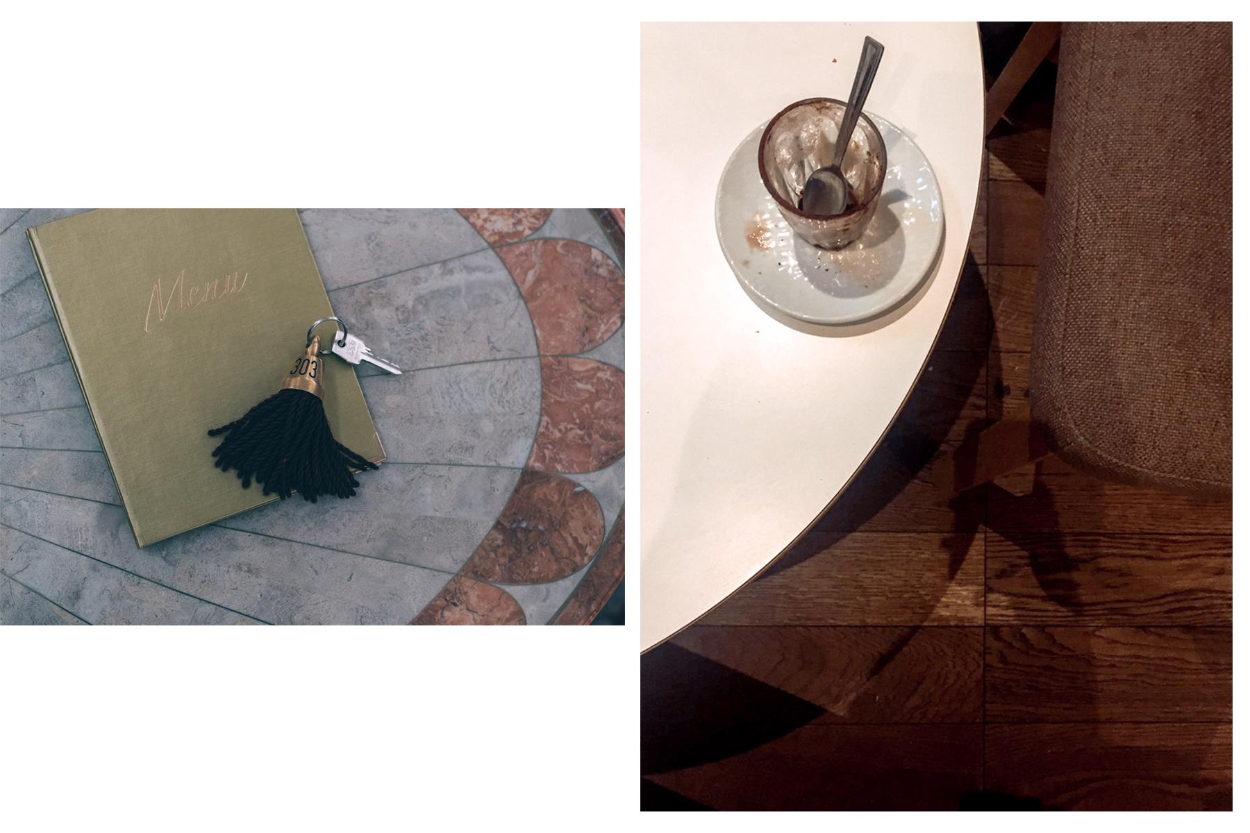 Hotel room key in Trieste and a coffee on a white table - Chiave di stanza di albergo a Trieste e caffè su un tavolo bianco