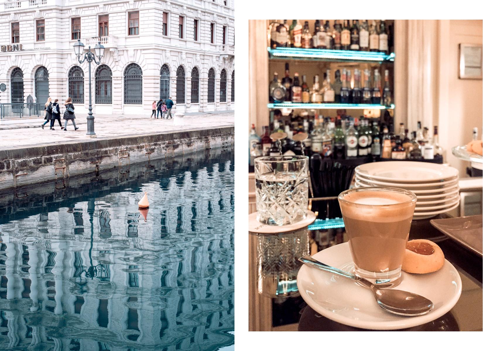 Trieste city centre with a white building and some water channel leading towards the sea and a coffe nero in B - Il centro di Trieste con un palazzo bianco e un canale che porta al mare e un caffè nero in B