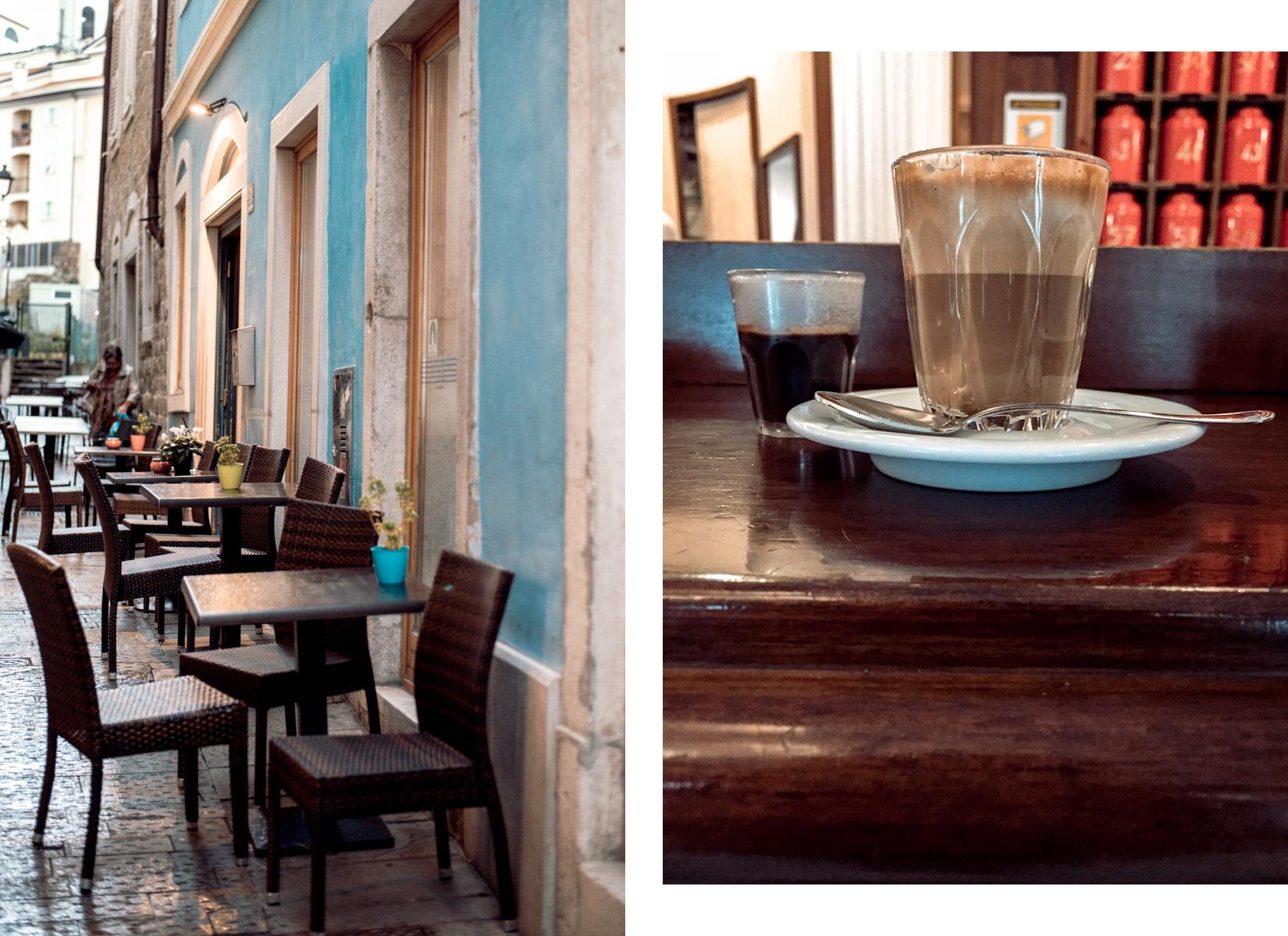 A narrow street in Trieste with dark tables and blue walls and a cofee in a bar - Una stradina stretta di Trieste con tavolini scuri e muri blu e un caffè in un bar