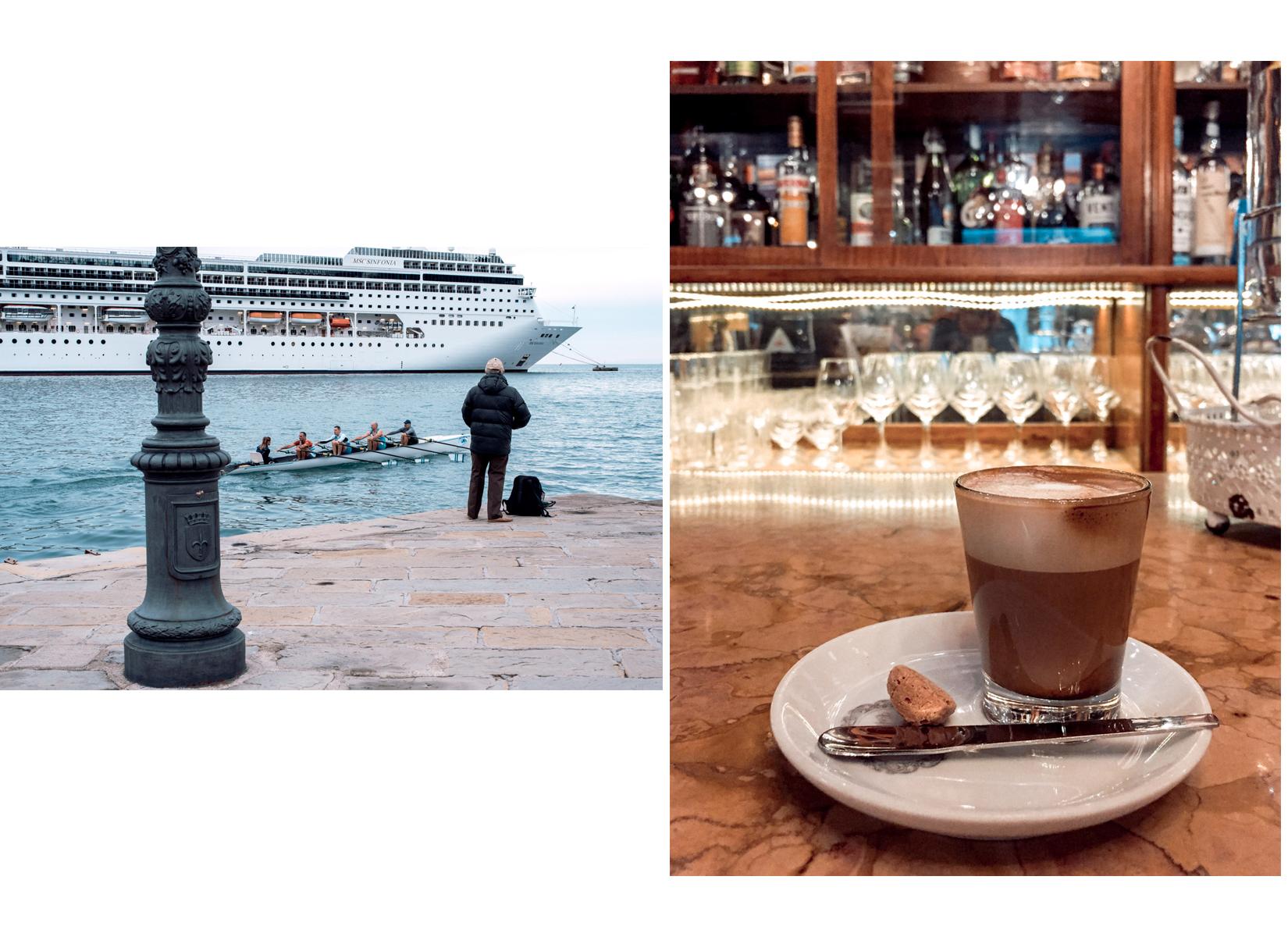 A cruise ship in the harbour of Trieste with a man fishing and a group of people in a canoe in Trieste and a coffee in a traditional old bar - Una nave da crociera nel porto di Trieste, un uomo che pesca e un gruppo di persone in canoa con un caffè in uno dei bar antichi di Trieste