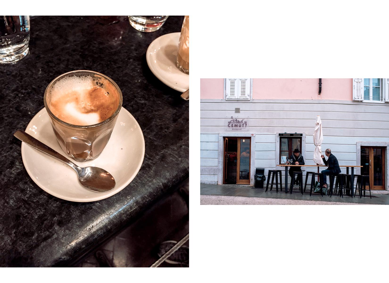 Two old men talking in a bar outside in Trieste and a glass of coffee served in a bar - Due signori parlano al bar in una strada di Trieste e il dettaglio di un caffè servito al banco
