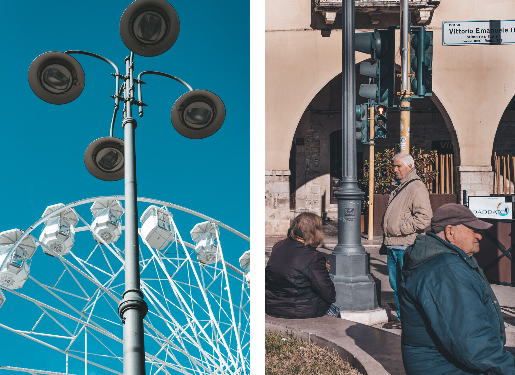 Ferris wheel and people in the street in Barletta, Apulia, ruota panoramica e persone in strada a Barletta, in Puglia