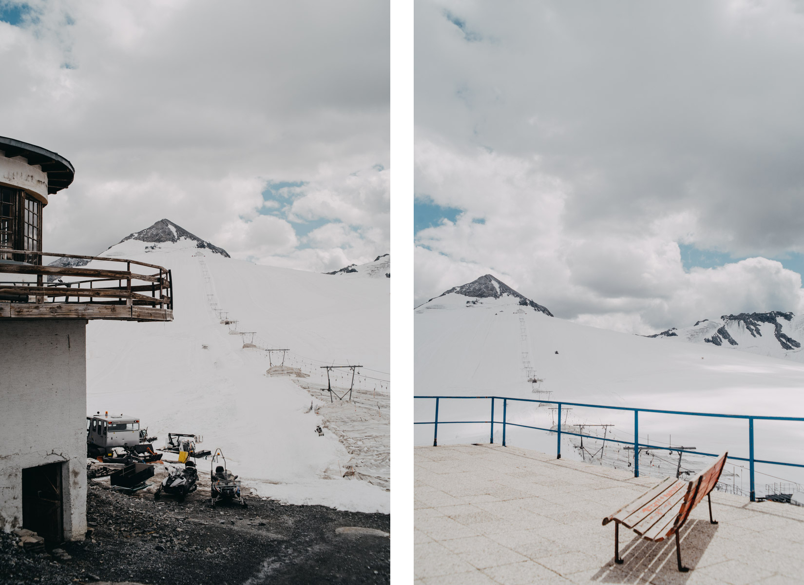 a bench on the mountains full of summer snow on the Stelvio pass, una panchina in un paesaggio innevato in estate sulle montagne dello Stelvio