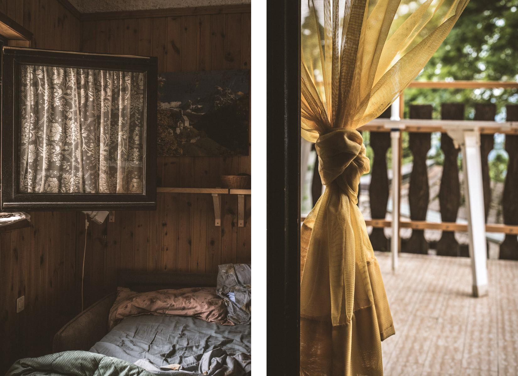 Details of a bedroom and a balcony of a mountain house in Zambla Alta province of Bergamo; dittico che mostra una camera da letto ed un balcone di una casa in montagna. La casa si trova a Zambla Alta in provincia di Bergamo in Val Serina