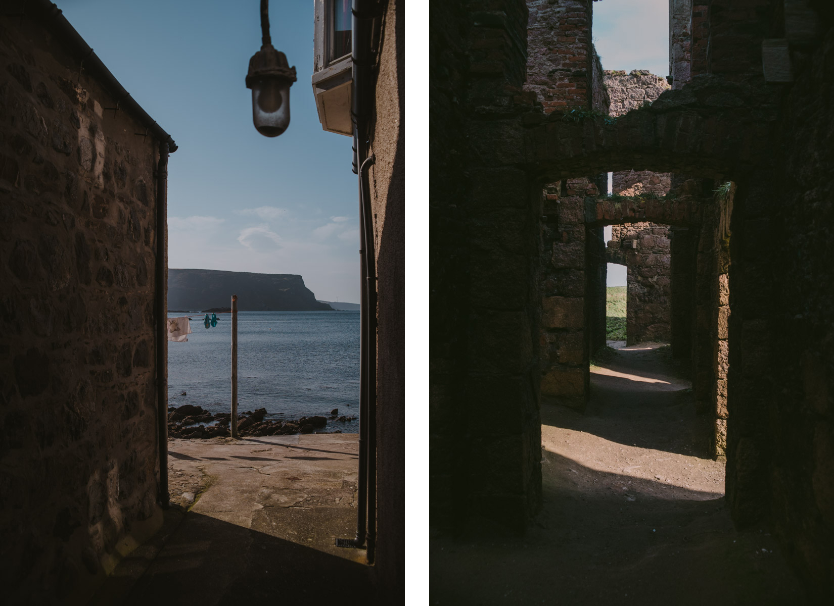 A diptych with on the left a detail of the village of Crovie and on the right ruins of a Scottish castle, un dittico con a destra rovine di un castello scozzese e a sinistra un dettaglio del villaggio di Crovie
