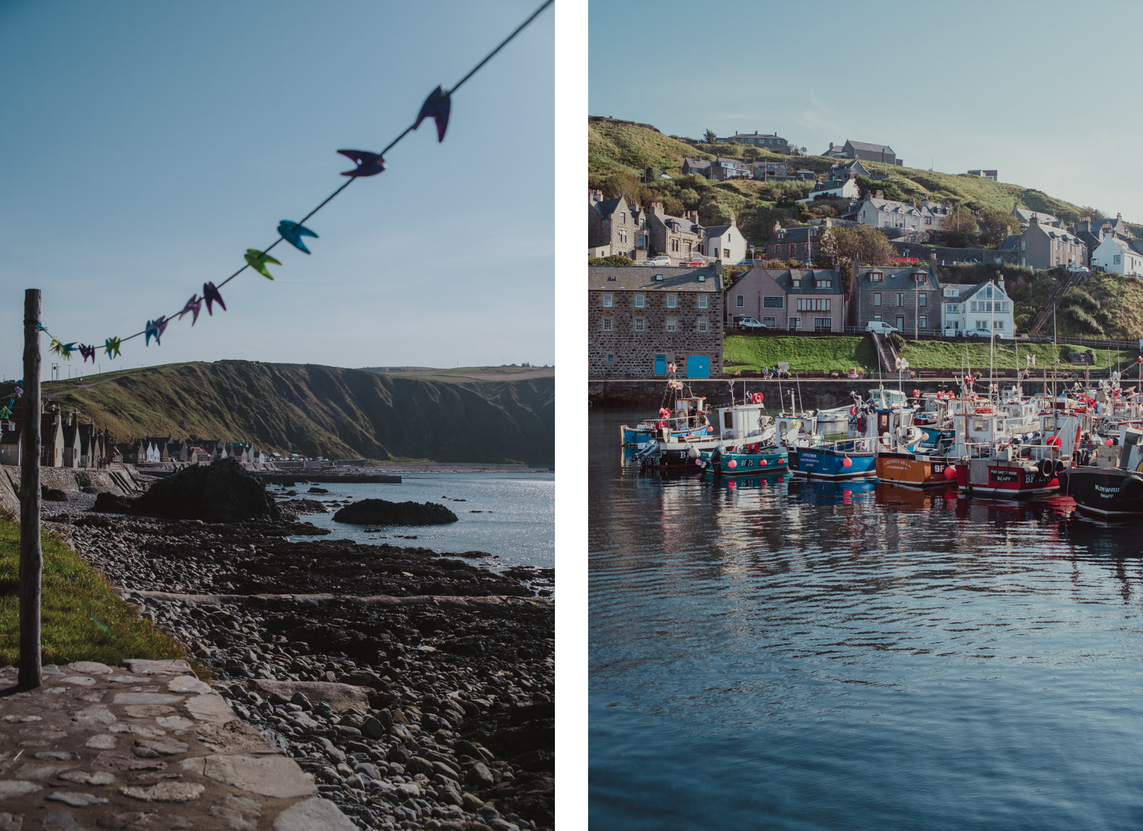 A diptych with on the left a detail of the Scottish village of Crovie and on the right boats and houses of a Scottish village, un dittico con un dettaglio del villaggio di Crovie a sinistra e a destra case e piccole barche di un altro piccolo paese in Scozia vicino a Crovie