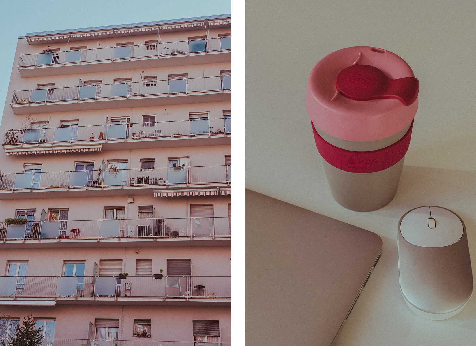 Keep Cup mug in pink and grey on a white table paired with an equally coloured building in Milan