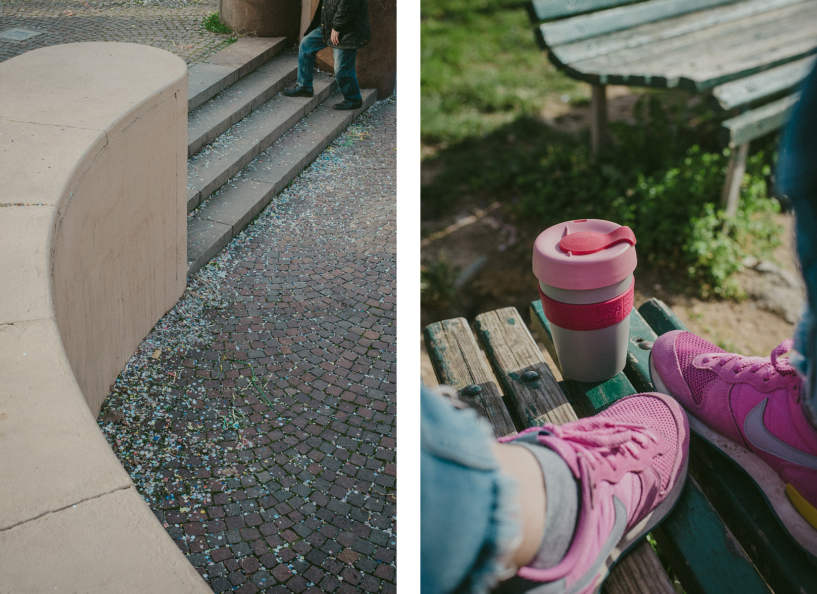 Detail of a man going up some stairs in the Vittorio Formentano park in Milan and a detail of a Keep Cup mug on a bench with some pink Nike shoes
